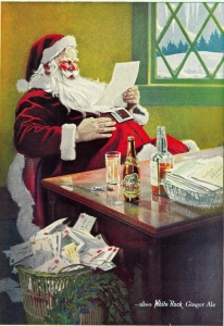 Santa Claus, White Rock Ginger Ale advert from 12 December 1923